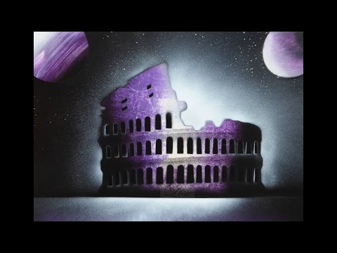 Spray paint art - Follow the light * All roads lead to Rome - made by Lise