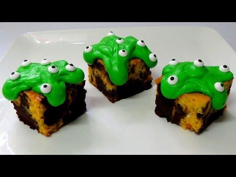 how to make marbled pumpkin cheesecake brownie  zombie eyes