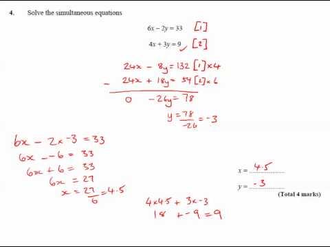 11y Ma2   Simultaneous Equations   Q4