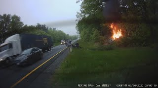 Man Bravely Pulls Driver Out of Fiery Car Crash
