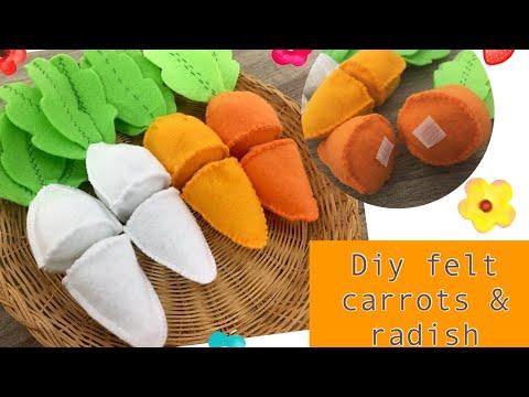 Diy felt food Series # No. 1 Felt Cut carrots and radish tutorials with printable patterns