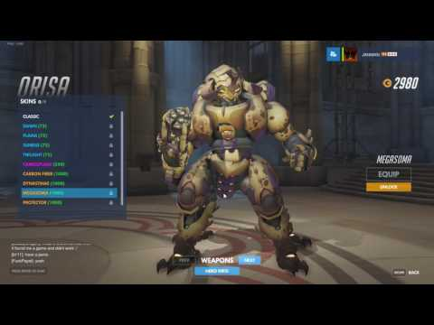 ALL Orisa Skins, Highlight Intros, Emotes, Voice Lines and Victory Poses - Overwatch