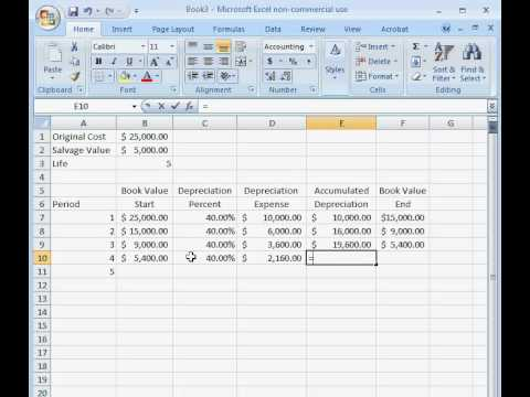 How to Calculate Double Declining Depreciation in Excel
