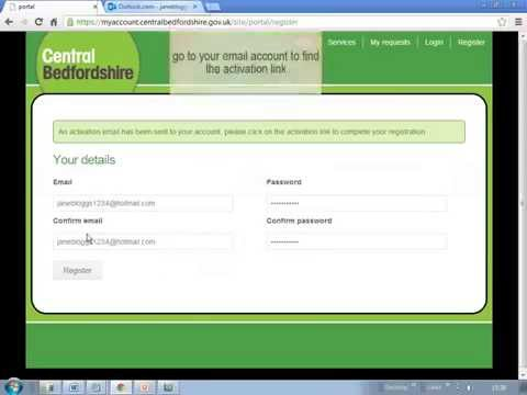 How to register a new account with Central Bedfordshire Council