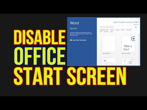 How to DISABLE OFFICE START SCREEN (Word, Excel, Power Point) - Office 2013/2016