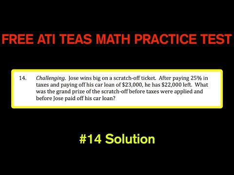 ATI TEAS MATH Number 14 Solution - FREE Math Practice Test - Scratch Off Winnings and Taxes
