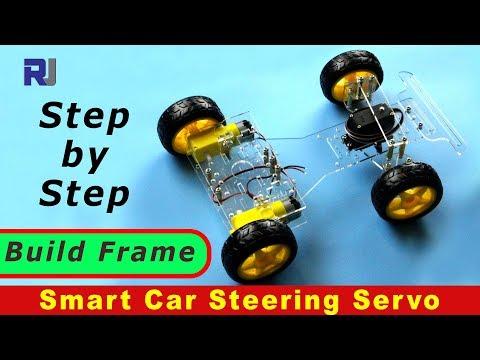 Frame Assembly of 4 Wheel 2 motor Servo Steering Smart car kit