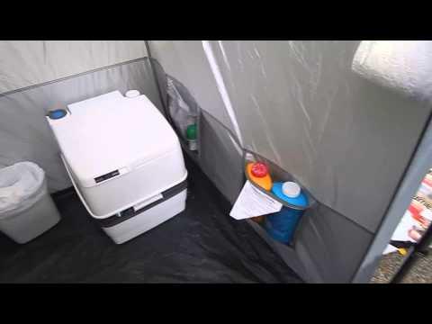 Tent Bathroom Setup