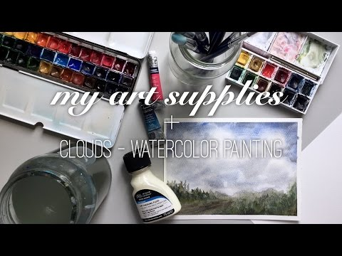 My Art Supplies + Clouds - Watercolor Painting