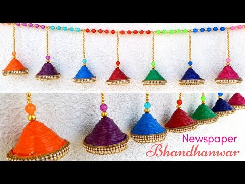 Bandhanwar | NEWSPAPER wall hanging for DIWALI |  | Door hanging | Toran | Maya Kalista !