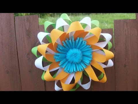 Easy Paper Flower Wall Decorations for Wedding, Republic Day Party DIY Home Class Decor Craft Ideas