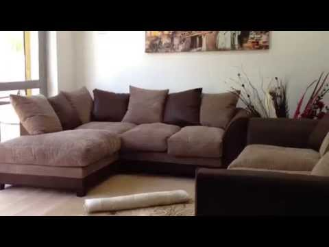 Dylan Left Hand Corner + 3 Seater Sofa in Brown & Beige Colour