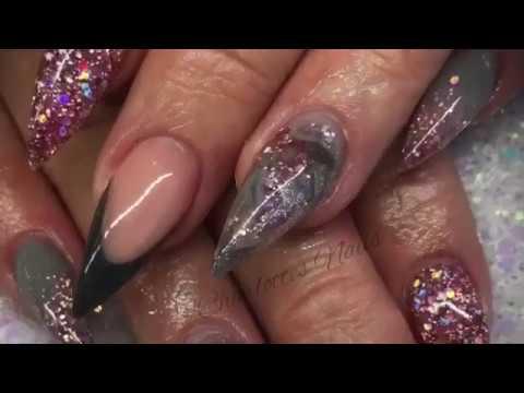 Acrylic nails - pink and grey design