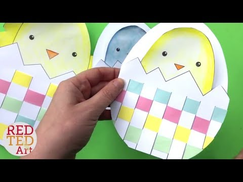 Weaving Chick Cards with Template - Easy Easter Card DIY ideas