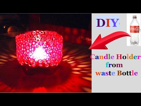 How to make Candle Stand from plastic bottle| Christmas decoration ideas | Best out  Of Waste