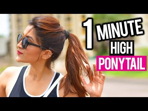 HOW TO: HIGH PONYTAIL IN 1 MINUTE! No Teasing, No Spray!