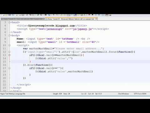 JQuery Tutorial 25 - Advance Attribute Selector with an example
