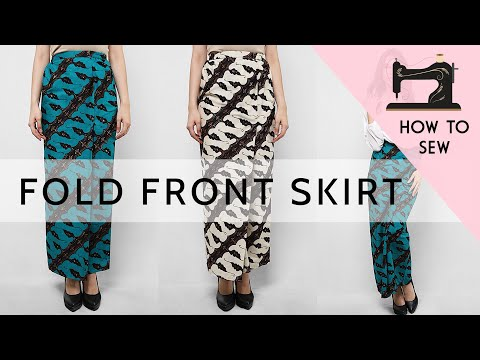 Front Fold Skirt Tutorial Sewing | Wrap Skirt | Kain Lipat Depan | Kain Lipat Batik
