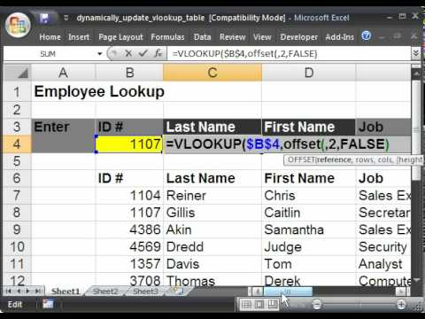Make a Dynamically Updated Vlookup Table in Microsoft Excel