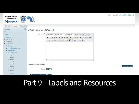 Part 9 - Labels and Resources (Moodle How To)