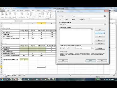 Solving Transportation Problems in Excel