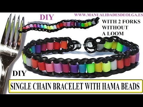 HOW TO MAKE SINGLE CHAIN BRACELET WITH HAMA BEADS WITH 2 FORKS. WITHOUT RAINBOW LOOM