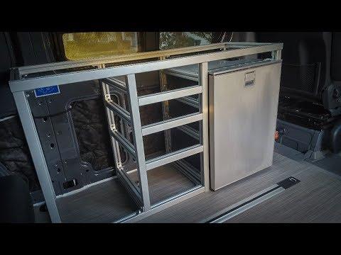 Extruded aluminum galley framing - DIY Sprinter camper van