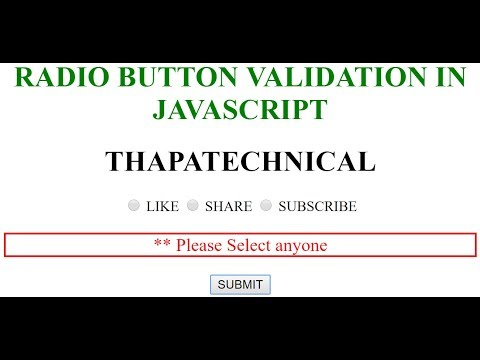 Radio Button Validation in JavaScript in Hindi 2017