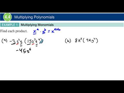 4.4 Example 1 Multiplying Monomials