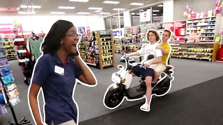 Driving Scooter Into Store!