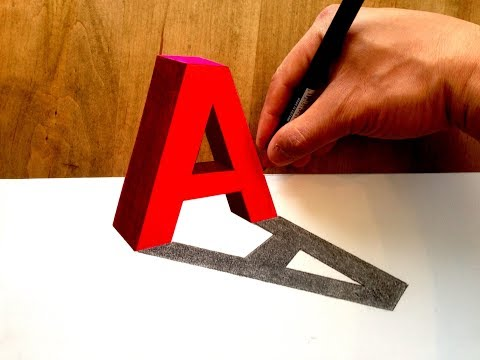 Drawing 3D Letter A Trick Art - Anamorphic Illusion