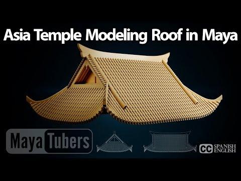 Modelar tejado tipo Pagoda con Autodesk Maya, Templo Chino o Japones, Tejas VRay - MayaTubers