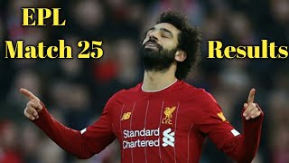Premier league Results | Match 25 Results | EPL Table | Stats | Top Scorer 2019/20