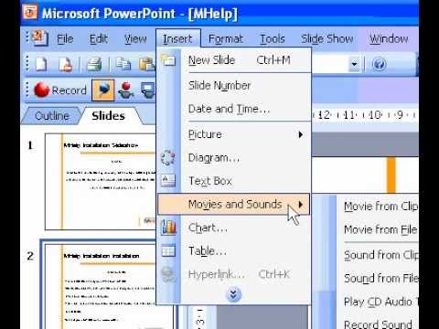 Microsoft Office PowerPoint 2003 Add music songs, or sound effects to a slide show