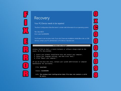 Fix Boot Error 0xC0000098
