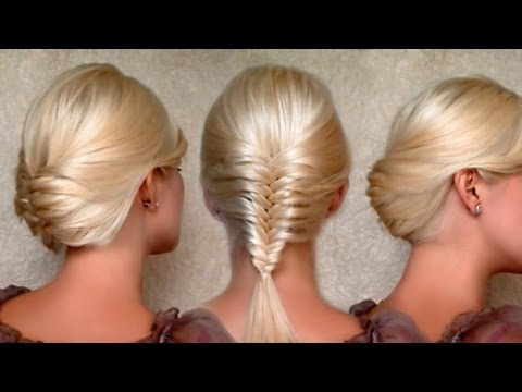 French fishtail braid and Christmas, New Year's eve updo hairstyles Medium long hair tutorial