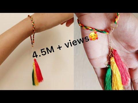 DIY bracelet/silk thread bracelet DIY/simple and easy bracelet/jewellery making