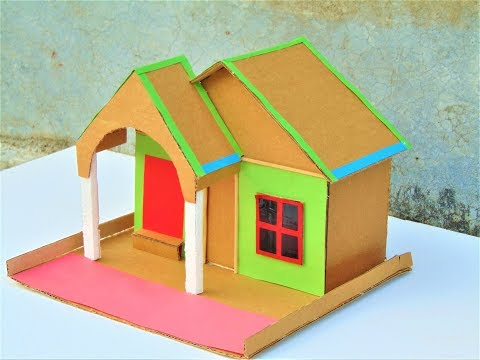 DIY || Cardboard House model - How to Make Small Cardboard House - School Project For kids