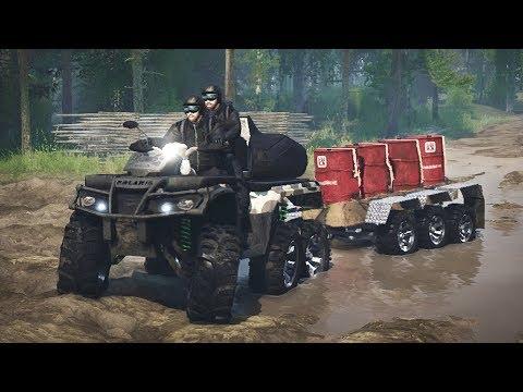 SpinTires Mudrunner - 6x6 ATV Towing 6 Wheel Trailer Through SIBERIA!