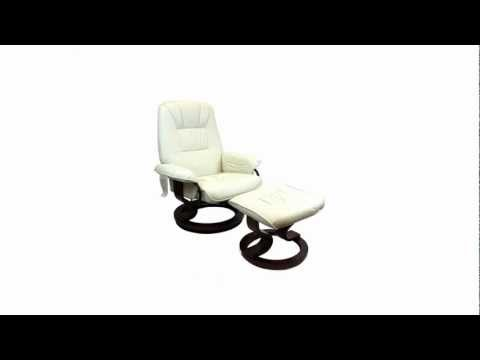 Furnisho - Faux Leather Swivel Recliner Chair & Footstool - New Living Room Furniture
