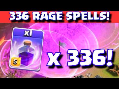 Clash of Clans 336 RAGE SPELLS! ALL RAGE SPELL CLAN WAR