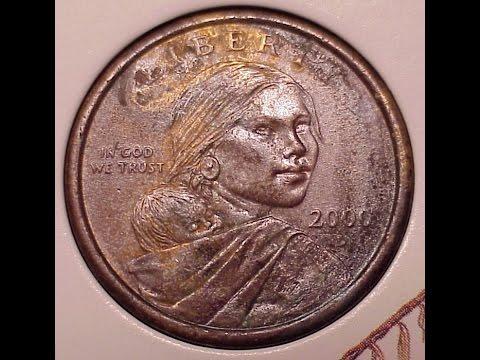 SacagaweaCoin 2000p-d Experimental Rinse Error Coin Sacagawea-Dollar Error Anti-Tarnishing Agent
