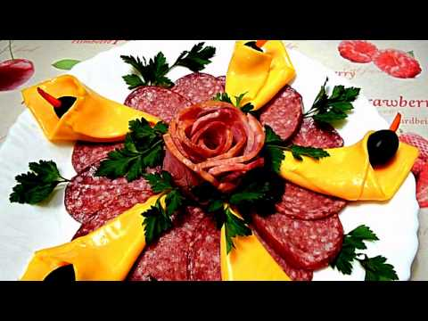 HOW TO MAKE FLOWER HAM - CHEESE GARNISH & SAUSAGE CUTTING - VEGETABLE CARVING