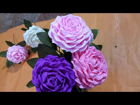 How to make  easy and simple paper flower by crepe paper