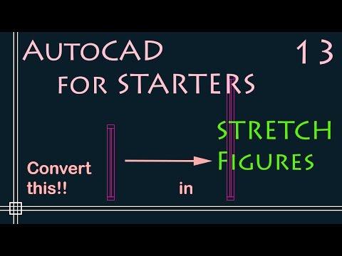 AutoCAD 2D Tutorials - 13.STRETCH figures (change window size - Fast tutorial!)