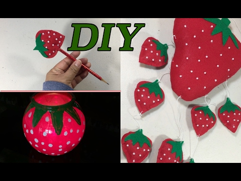 DIY Strawberry Candle Jar,Pencil and Strawberry Hanging Decor  #55
