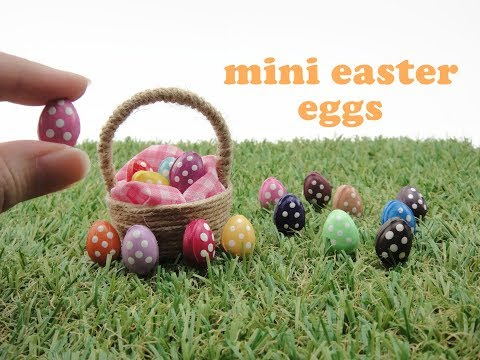 DIY Miniatures Mini Doll - Easter Eggs with Basket - No polymer clay!