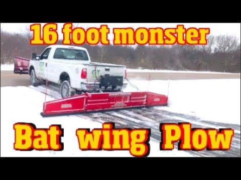 The fastest Snow plow ever made -16' Monster back plow Finishes a driveway in seconds Bat Wing Plow