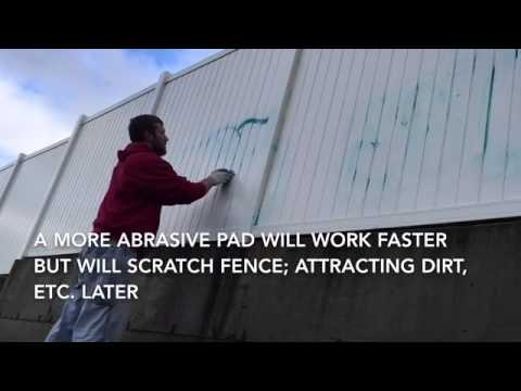 How to remove spray paint graffiti from vinyl white plastic fence.