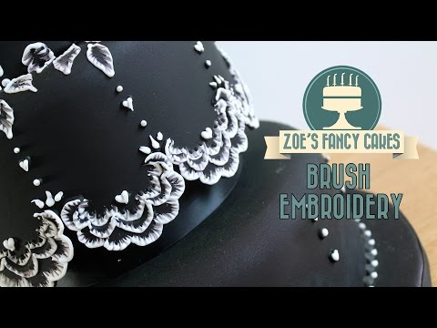 Brush Embroidery on a cake How To Cake Tutorial Decorating